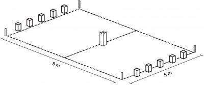Kubb-Spielfeld